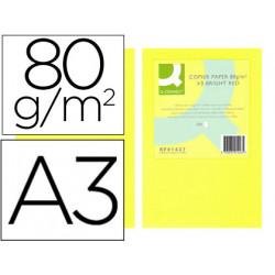 Papel color qconnect din a3 80gr amarillo neon paquete de 500 hojas