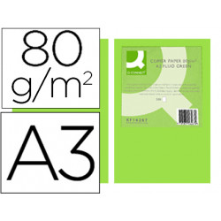 Papel color qconnect din a3 80gr verde neon paquete de 500 hojas
