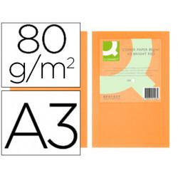 Papel color qconnect din a3 80gr naranja neon paquete de 500 hojas