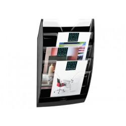 Expositor mural cep de pared con 5 compartimentos transparente y negro 580x