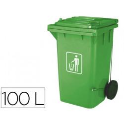 Papelera contenedor qconnect plastico con tapadera 100l color verde 750x47