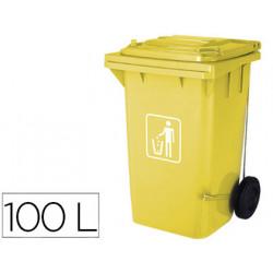 Papelera contenedor qconnect plastico con tapadera 100l color amarillo 750