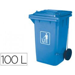 Papelera contenedor qconnect plastico con tapadera 100l color azul 750x470