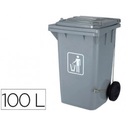 Papelera contenedor qconnect plastico con tapadera 100l color gris 750x470