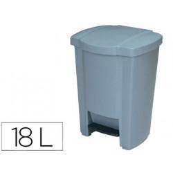 Papelera contenedor qconnect plastico con tapadera y pedal 18l 440x330x290