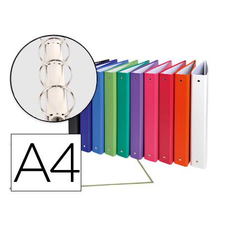 Carpeta de 4 anillas 30mm redondas exacompta a4 carton forrado colores surt