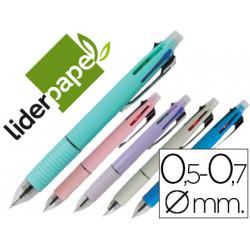 Boligrafo liderpapel 5 en 1 azul negro rojo verde 07m y portaminas 05mm