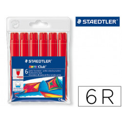 Rotulador staedtler color jumbo trazo 3 mm cajas unicolor rojo