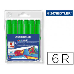 Rotulador staedtler color jumbo trazo 3 mm blister unicolor verde lima