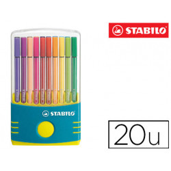Rotulador stabilo pen 68 punta media parade estuche de color turquesa 20 un