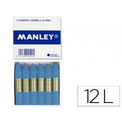 Lapices de cera manley unicolor verde azulado oscuro caja de 12 n 53