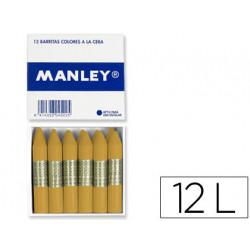 Lapices de cera manley unicolor ocre madera caja de 12 n64