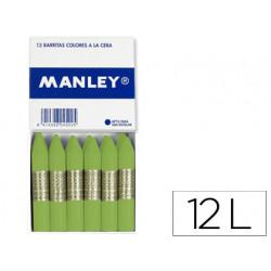 Lapices de cera manley unicolor verde dorado caja de 12 n48