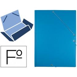 Carpeta liderpapel gomas plastico folio solapa color celeste