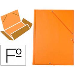 Carpeta liderpapel gomas plastico folio solapa color naranja