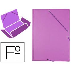 Carpeta liderpapel gomas plastico folio solapa color lila