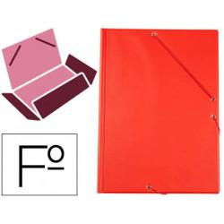 Carpeta liderpapel gomas plastico folio solapa color rojo