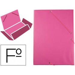 Carpeta liderpapel gomas plastico folio solapa color fucsia
