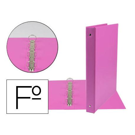 Carpeta liderpapel 4 anillas 25 mm redondas plastico folio color fucsia