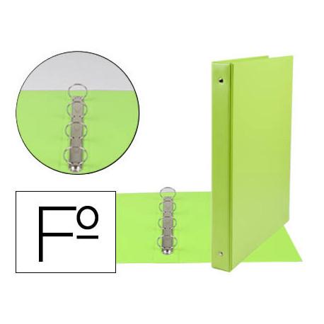 Carpeta liderpapel 4 anillas 25 mm redondas plastico folio color verde pist