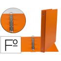 Carpeta liderpapel 4 anillas 25 mm redondas plastico folio color naranja
