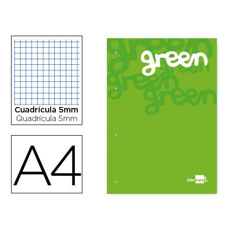 Bloc encolado liderpapel cuadro 5 mm verde a4 natural 100 hojas 100 g/m2