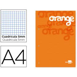 Bloc encolado liderpapel cuadro 5 mm naranja a4 natural100 hojas 100 g/m2