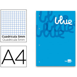 Bloc encolado liderpapel cuadro 5 mm azul a4 natural 100 hojas 100 g/m2