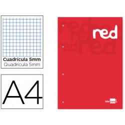 Bloc encolado liderpapel cuadro 5 mm rojo a4 natural 100 hojas 100 g/m2