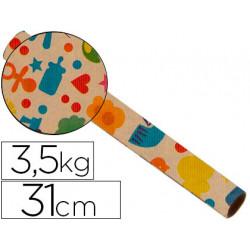 Papel fantasia kraft 4302 havana motivo infantil bobina 31cm 35 kg