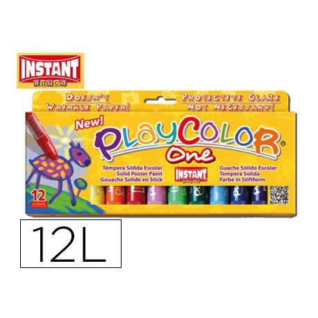 Tempera solida en barra instant escolar caja de 12 colores surtidos