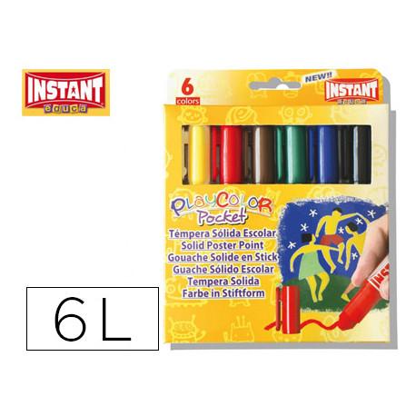 Tempera solida en barra instant pocket escolar caja de 6 colores surtidos