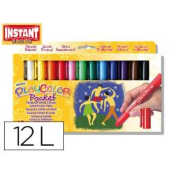 Tempera solida en barra instant pocket escolar caja de 12 colores surtidos