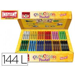 Tempera solida en barra instant pocket escolar caja de 144 unidades 12 colo