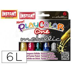 Tempera solida en barra instant escolar caja de 6 colores metalizados surti
