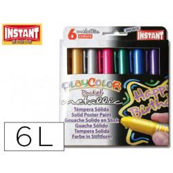 Tempera solida en barra instant pocket escolar caja de 6 colores metalizado