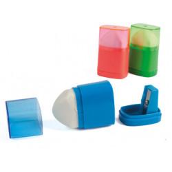 Sacapuntas liderpapel plastico 1 uso con goma