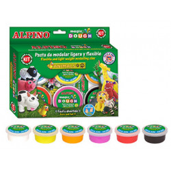 Pasta alpino para modelar magic dough animals caja de 6 colores de 40 gr