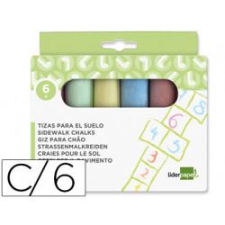 Tiza color liderpapel para suelo caja de 6 unidades colores surtidos