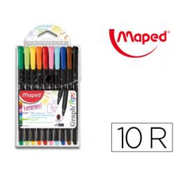 Rotulador maped punta de metal graph peps fine liner estuche de 10 colores