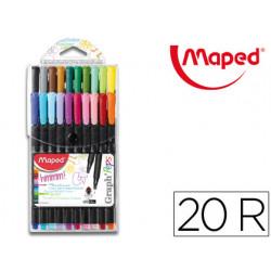 Rotulador maped punta de metal graph peps fine liner estuche de 20 colores