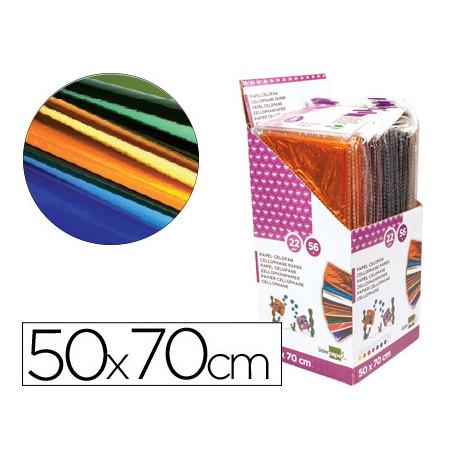 Papel celofan liderpapel 50x70 expositor 56 bolsas de 5 hojas 8 colores sur