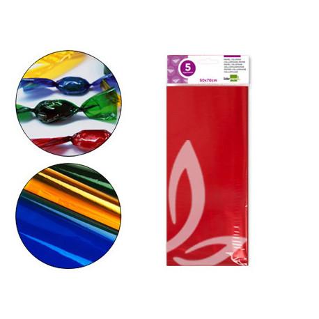 Papel celofan liderpapel 50x70 cm 22g/m2 bolsa de 5 hojas rojo