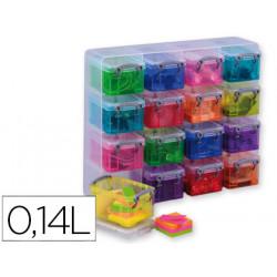 Organizador archivo 2000 plastico transparente con 16 compartimentos con ta