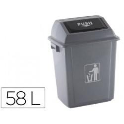 Papelera contenedor qconnect plastico con tapa de balancin 58 litros gris