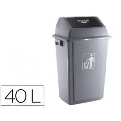 Papelera contenedor qconnect plastico con tapa de balancin 40 litros gris