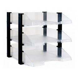 Bandeja sobremesa archivo 2000 plastico transparente con elevadores negro c