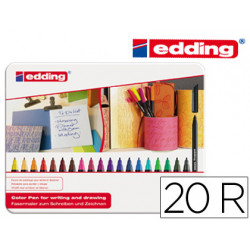 Rotulador edding punta fibra 1200 caja de 20 colores surtidos punta redonda
