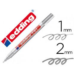 Rotulador edding punta fibra 751 plata punta redonda 12 mm