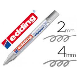 Rotulador edding punta fibra 750 plata punta redonda 24 mm